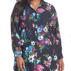 FOXCROFT Jade Watercolor Floral Blouse